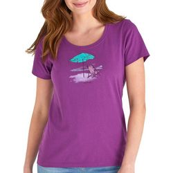 Life Is Good Womens Unplug Beach Umbrella T-Shirt