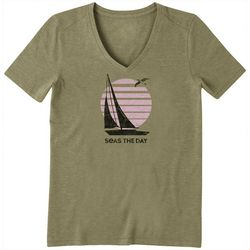 Life Is Good Womens Seas The Day Cool V-Neck T-Shirt