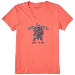 Life Is Good Womens Tribal Turtle T-Shirt