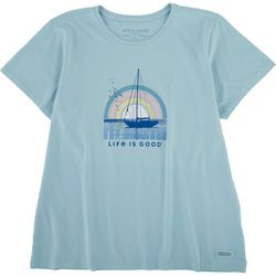 Life Is Good Womens Rainbow Sailing Crusher T-Shirt