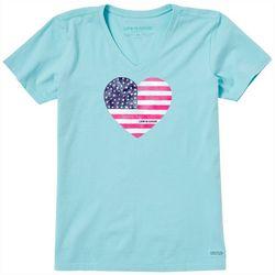 Life Is Good Womens Americana Heart T-Shirt