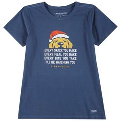 Life Is Good Womens Santa Dog Crusher T-Shirt