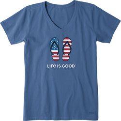 Life Is Good Womens Americana Flip Flops T-Shirt