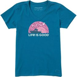 Life Is Good Womens Sunset Boating Crusher T-Shirt