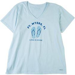 Life Is Good Womens Ft. Myers Fl V-Neck T-Shirt
