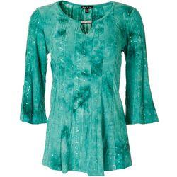 Sami & Jo Womens Embellished Split Neck Sequin Top