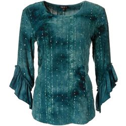 Sami & Jo Womens Sequin Ruffle 3/4 Sleeve Top