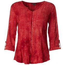Sami & Jo Womens Sequin Button Down Top