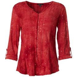 Womens Sequin Button Down Top