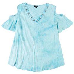 Sami & Jo Womens Sequin Tie-Dye Cold Shoulder Top