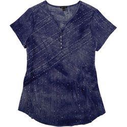 Sami & Jo Womens Sequin Tie-Dye Short Sleeve Top