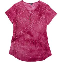 Sami & Jo Womens Sequin Tie-Dye Short Sleeve Top