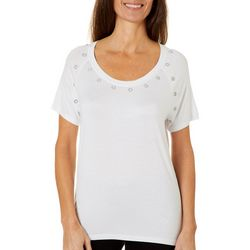 Thomas & Olivia Womens Jewel Embellished Short Sleeve Top
