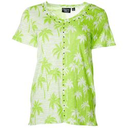 Onque Casual Womens Palm Tree Stripe V-Neck Short Sleeve Top