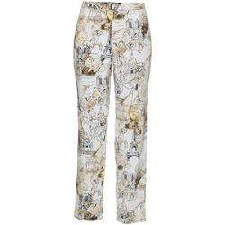 Thomas & Olivia Womens Linen Scenic Paris Print Pants