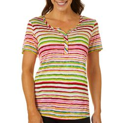 Thomas & Olivia Womens Embellished Striped Top