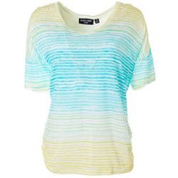 Knit Chic Lifestyle Womens Embellished Stripe Top