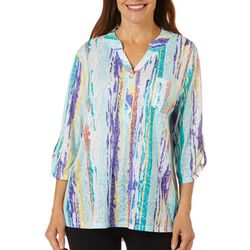 Thomas & Olivia Womens Mixed Stripe Roll Sleeve Tunic Top