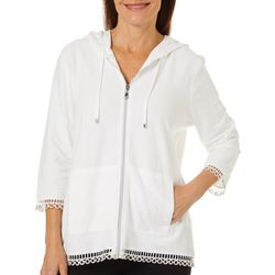 Thomas & Olivia Womens Solid Crochet Grommet Trim Jacket