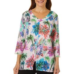 Thomas & Olivia Womens Floral Print V-Neck Top