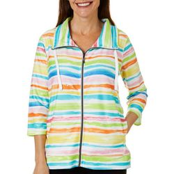 Thomas & Olivia Womens Painted Stripe Zippered Jacket