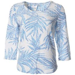 Thomas & Olivia Womens Tropical Leaf Burnout Top