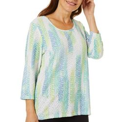 Thomas & Olivia Womens Textured Stripe Round Neck Top