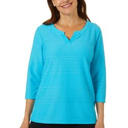 Thomas & Olivia Womens Textured Solid Top