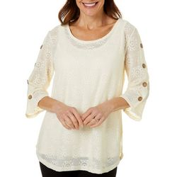 Thomas & Olivia Womens Solid Mesh Button Detail Top