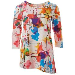 Thomas & Olivia Womens Splatter Print Round Neck Top