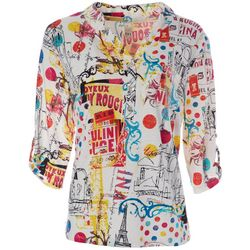 Thomas & Olivia Womens Paris Graphic Roll Sleeve Tunic Top