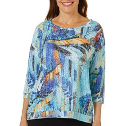 Thomas & Olivia Womens Piano Print Burnout Top