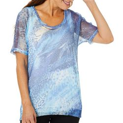Thomas & Olivia Womens Printed Mesh Short Sleeve Top