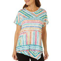 Thomas & Olivia Womens Mixed Stripe Short Sleeve Top