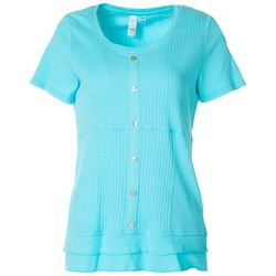 Thomas & Olivia Womens Mixed Media Button Down Top