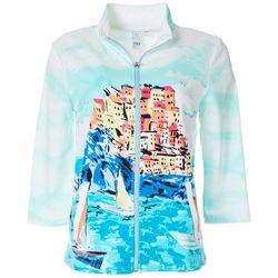 Womens Scenic Print Zippered Jacket