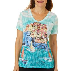 Thomas & Olivia Womens Scenic Caribbean Print V-Neck Top