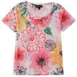 Thomas & Olivia Womens See Through Floral Print Top