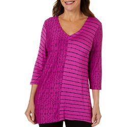 Thomas & Olivia Womens Mixed Stripe V-Neck Top