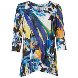 Thomas & Olivia Womens Relaxed Floral V-Neck Top