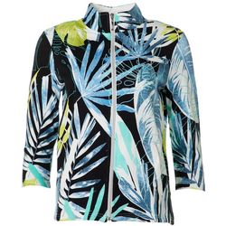 Thomas & Olivia Womens Tropical Palm Leaf Print Jacket