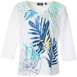 Onque Womens Tropical Palm Leaf Textured Detail V-Neck Top