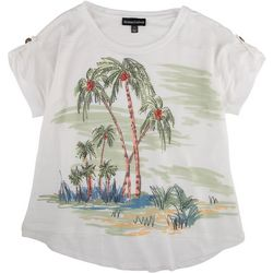 Thomas & Olivia Womens Scenic Palm Tree Print Sparkle Top