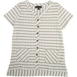 Thomas & Olivia Womens Striped V-Neck Top With Buttons