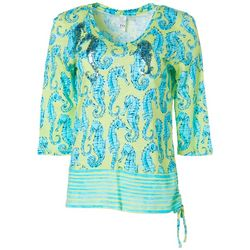 Thomas & Olivia Womens Embellished Seahorse Top
