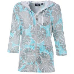 Onque Casual Womens Palm Leaf Print Zippered Jacket