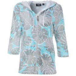 Womens Palm Leaf Print Zippered Jacket