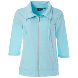 Womens Solid Zippered Jacket