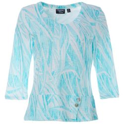 Thomas & Olivia Womens Swirl Print Button Detail Tunic Top