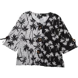 Thomas & Olivia Womens Palm Tree Print With Buttons
